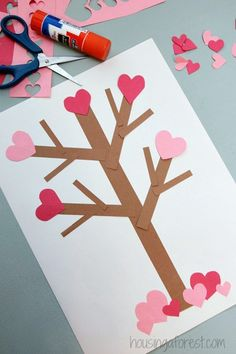 Flowering Heart Tree ~ Valentines Day Paper Tree Craft for Kids