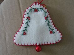 Sweet Embroidered Bell Christmas Ornament with Jinglebell. $3.00, via Etsy.