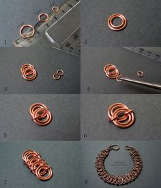 from Fradany -it's in Spanish, but the pictures are very helpful ~ Wire Jewelry Tutorials Copper Jewelry, Wire Jewelry, Jewelry Crafts, Beaded Jewelry, Handmade Jewelry, Copper Wire, Metal Jewelry Making, Jewelry Armoire, Jewellery Making