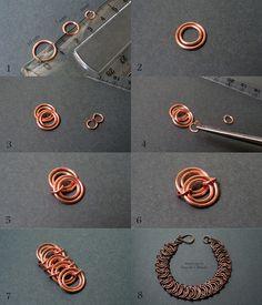 Free jewelry tutorial - chain mail, wire chain bracelet