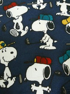 Snoopy Mens Tie Playing Golf Peanuts Ace of Clubs Blue Walking Hitting Ball Silk #Peanuts #NeckTie