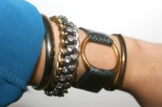 Perfect addition to the stacked arm – the leather ring bracelet.