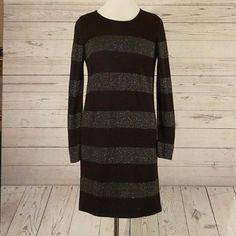 7fdbcc0903 Ann Taylor LOFT Factory Medium Black  amp  Metallic Silver Wool Blend  Sweater Dress  AnnTaylorLOFT