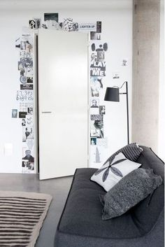 pictures/quotes/cards around a doorframe! yes!