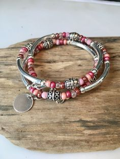 Boho Wrap Bracelet Beaded Tube Wrap Pink mix wrap bracelet beaded wrap Tibetan style/Necklace Gift for mom daughter Boho Jewelry, Beaded Jewelry, Jewelery, Jewelry Accessories, Jewelry Shop, Cartier Jewelry, Jewelry Ideas, Jewelry Findings, Silver Jewelry