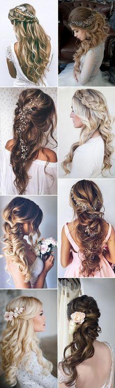 2017 wedding long hairstyles for brides #WeddingNails