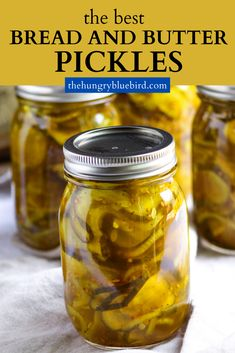 Bread and Butter Pickles ~ sweet and tangy, crunchy and a little spicy, these are the BEST pickles! Easy canning recipe to capture summer in a jar. #thehungrybluebird #breadandbutterpickles #canningrecipe #homemade #easyrecipe #picklesrecipes Bread And Butter Pickle Canning Recipe, Bread & Butter Pickles, Homemade Bread And Butter Pickles Recipe, Pickled Onions Canning Recipe, Sweet Pickle Brine Recipe, Cucumber Salsa Canning Recipe, Spicy Bread And Butter Pickle Recipe, Best Sweet Pickle Recipe, Kitchens