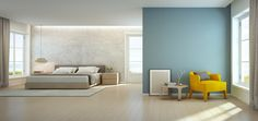 Sea view bedroom and living room in luxury beach house, Modern interior of vacation home - 3D rendering