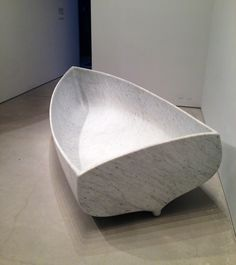 Fabio Viale marble boat at the Norman Foster-designed Sperone gallery.