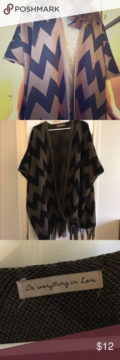Chevron poncho Super warm, chevron poncho. Looks amazing with skinny jeans and tall boots. Jackets & Coats Capes