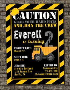 Construction Zone Birthday Invitation, Construction Birthday Party, Boys Birthday Invitation, Hard Hat Birthday Party 5x7 - Custom Printable on Etsy, $12.00