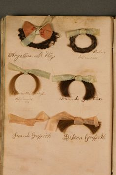 page of antique hairwork from scrapbook ~ This is amazing to me!!! It brings so many curious thoughts to mind......Wow!!!!!!
