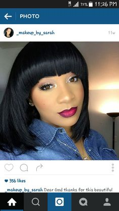 Black wig bangs bob short with