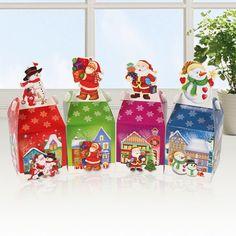 6PCS Christmas Gift Boxes Christmas Eve Apple Box Santa Snowman Xmas Party Box #Unbranded #Christmas