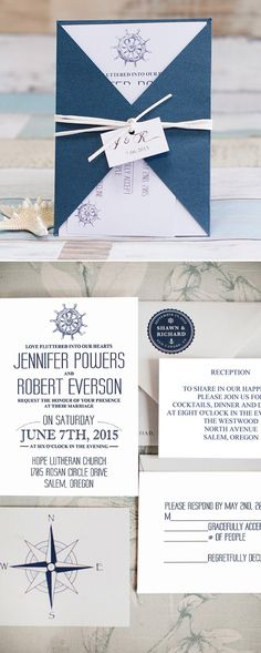 navy blue pocket nautical beach wedding invitations