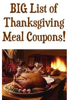 BIG List of Thanksgiving Meal Coupons!!