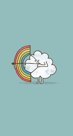 Kawaii wallpaper of a cloud shooting a rainbow with a bow & arrow. Iphone 6 Wallpaper, Cool Wallpaper, Mobile Wallpaper, Wallpaper Backgrounds, Rainbow Wallpaper, Kawaii Wallpaper, Rainbow Bow, Rainbow Cloud, Dibujos Cute