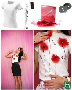 Camiseta amapolas - puede adaptarse a un vestido