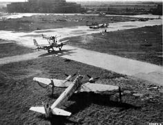 A Junkers Ju 88 and a German Mistel plane, as photographed at the airport in...
