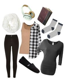 """""""Airport Outfit"""" by smgeekgirl on Polyvore featuring River Island, Balmain, LE3NO, TOMS, Accessorize, Betsey Johnson and Bose"""