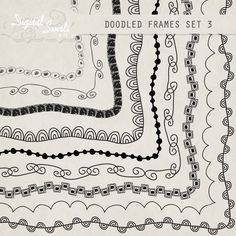 Doodled Frames 3  85 x 11  Digital Clipart for by DigitalSwirls, $3.50