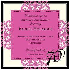 Decorative Square Border Pink 70th Birthday Invitations