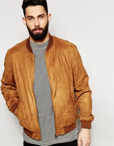 Image 1 of ASOS Faux Suede Bomber Jacket in Tan
