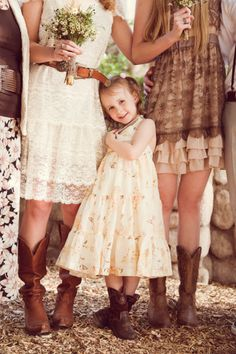 Flower girl & bridesmaids at a western/rustic country wedding