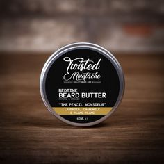 The Twisted Moustache bedtime beard beard butter is, yep created to use at bedtime. A two fold benefit of conditioning your beard and a scent to aid sleep! Beard Soap, Beard Shampoo, Beard Balm, Mustache Wax, Moustache, Cocoa Butter, Shea Butter, Beard Butter, Sweet Almond Oil