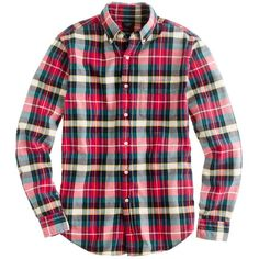 Oxford plaid shirt in holiday red ($75) ❤ liked on Polyvore featuring tops, plaid shirts, cotton shirts, oxford shirt, tall tops and red plaid shirt