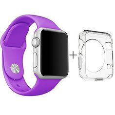 Apple Watch 38mm Band, ClockChoice Silicone Strap Sport Replacement Kit for iWatch, PURPLE | Bonus Case Included | No adapter needed | Includes 3 Pieces, for 2 Lengths | For Women and Men Use, http://www.amazon.com/dp/B019OTSZHW/ref=cm_sw_r_pi_awdm_FQe6wb1FC4AB0