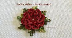 Camellia flower step by step Bead Crochet, Crochet Doilies, Crochet Flowers, Crochet Stitches, Crochet Earrings, Crochet Patterns, Flower Step By Step, Crochet Baby Booties, Crochet Purses