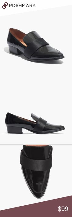 MADEWELL LYTTON LOAFER PATENT BLACK SATIN SHOES 9 EUC, minimal signs of wear, a very minimal scuffing on inside side of shoe, very clean. Has back of heel/ankle protector pads. No issues. Madewell Shoes Flats & Loafers
