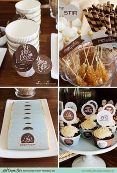 Hot Cocoa bar | HOT COCOA BAR Birthday Party Printable Set by Sweet ... | Party Ideas