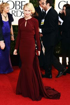 Naomi Watts - Zac Posen - Golden Globe Awards in 2013. This burgundy gown was the perfect departure from ubiquitous red during awards season.