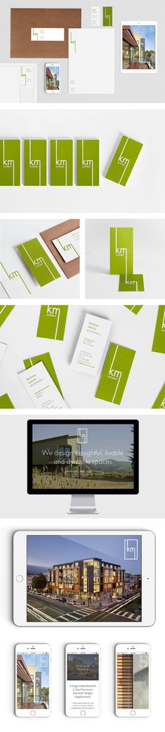 Full branding package for Kerman Morris Architects featuring a letterpressed business card designed by Adrienne Eberhardt Creative in San Francisco