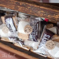 S'mores (smores) individual packed rustic wedding bonfire firepit