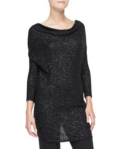 Sequined Cashmere Drape-Front Tunic by Donna Karan at Neiman Marcus.