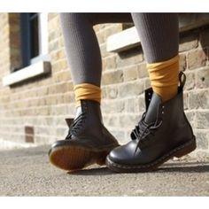Black Doc Martens with yellow socks