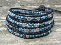 Beaded Leather Wrap Bracelet 4 or 5 Wrap with by BetsyGraceJewelry