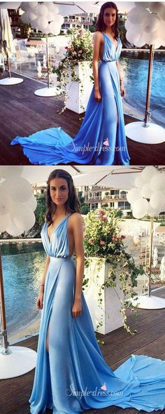 blue long prom dresses, long prom dresses with side slit, 2016 prom dresses