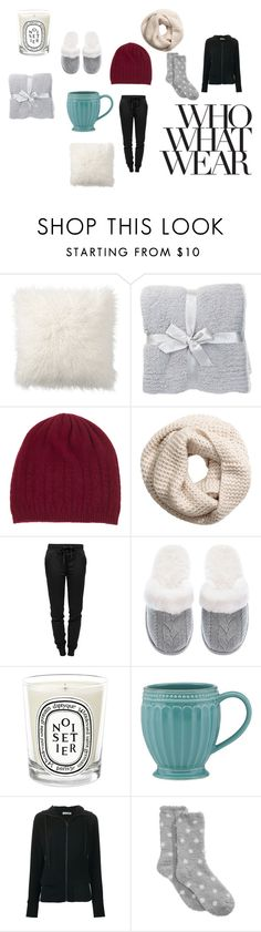 """""""Netflix Wear"""" by destinyfullerton ❤ liked on Polyvore featuring Pottery Barn, Barefoot Dreams, Johnstons of Elgin, H&M, T By Alexander Wang, Victoria's Secret, Diptyque, Lenox, Tomas Maier and Charter Club"""