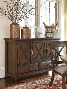 Pin By Meubles Ashley Homestore On Heritage Dining Room Server Servers Furniture Dining Room Table Decor