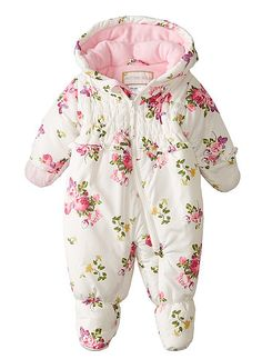 Rothschild Baby Girls' Infant Print Pram Suit: Zip-front hooded winter suit featuring ruffle trim at chest and fold-over mittens Covered feet with elasticized ankles Warm Outfits, Cute Outfits For Kids, Toddler Outfits, Boy Outfits, Winter Baby Clothes, Baby Kids Clothes, Cute Baby Girl, Baby Girls, Baby Girl Fashion