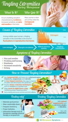 can be unsettling and unpleasant. This tingling can affect any part of the body, though it commonly occurs in the feet, legs, arms, and hands. Tingling extremities during are usually the result of hormone fluctuations. Click our infographic to learn more! Health And Fitness Tips, Health Tips, Health And Wellness, Health Care, Menopause Diet, Menopause Symptoms, Natural Remedies, Healthy Eating, Hormone Imbalance Symptoms
