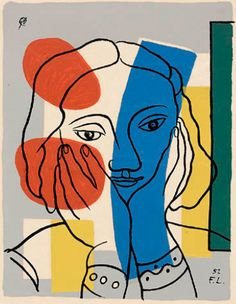 Fernand Léger (1881-1995), 1952, Głowa z niebieskim pasmem (Le chef de la bande bleue), serigrafia .