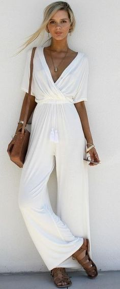 #summer #trending #fashion | White Jumpsuit