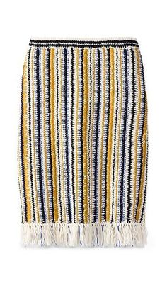 Tory Burch Crochet & Fringe Long Skirt
