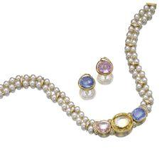 Sapphire, cultured pearl and diamond demi-parure, Bulgari | lot | Sotheby's