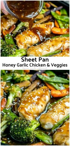 easy Sheet Pan Honey Garlic Chicken with Veggies has the flavors of a stir . This easy Sheet Pan Honey Garlic Chicken with Veggies has the flavors of a stir . This easy Sheet Pan Honey Garlic Chicken with Veggies has the flavors of a stir . Think Food, Easy Healthy Dinners, Dinner Healthy, Quick Family Dinners, Healthy Eating, Dinner Ideas For Family, Quick Meals For Dinner, Veggie Dinners, Healthy Dinners For Families